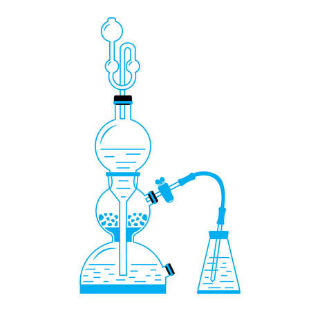 reagent: Vector illustration of Kipps apparatus - old fashioned chemistry glassware used for gases generation through chemical reaction. Illustartion in line style.