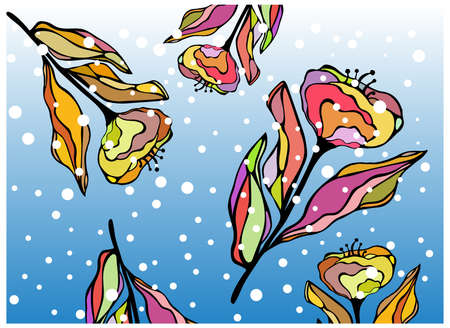 falling snow: Vector illustration of hand drawn colorful winter flowers with falling snow. Good for greeting card. Illustration