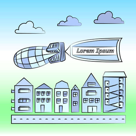 blimp: Vector illustration of cityscape with blimp carrying flag. Houses with road, clouds, blimp and flag.