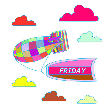 Celebrate Friday. Colorful vector illustration of blimp carrying flag with Friday. Illustration