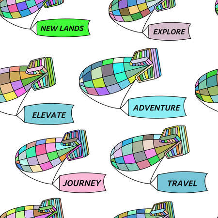 blimps: Vector seamless pattern of colorful blimps carrying flags with travelling and adventure words on white background. llustration for textile, wrap or wallpaper. Illustration