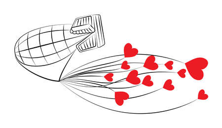blimp: Vector illustration of blimp carrying red hearts.