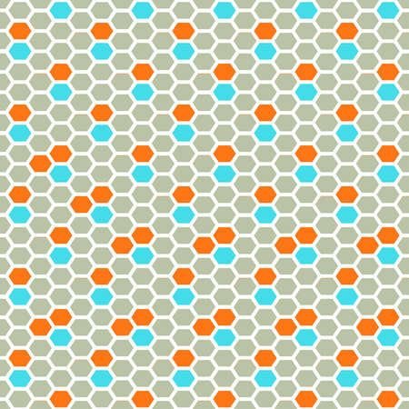 Seamless vector honey comb pattern in gray, orange and blue color accents with white stroke. Illustration