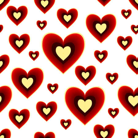 Seamless vector pattern with romantic red hearts with yellow color accents. Illustration