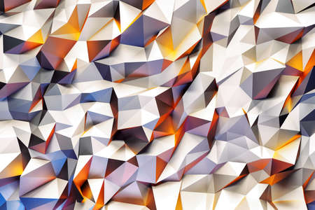 yeloow: Abstract geometric pattern with purple, yellow and white three dimensional triangles.