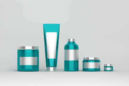 Mockup of a set of skin care products packages. Light blue plastic shiny cosmetics containers with white blank labels on white background.