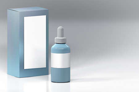 eye pipette: Mockup of blue vape bottle with white blank label and package box. Plastic shiny cosmetics container on white background.