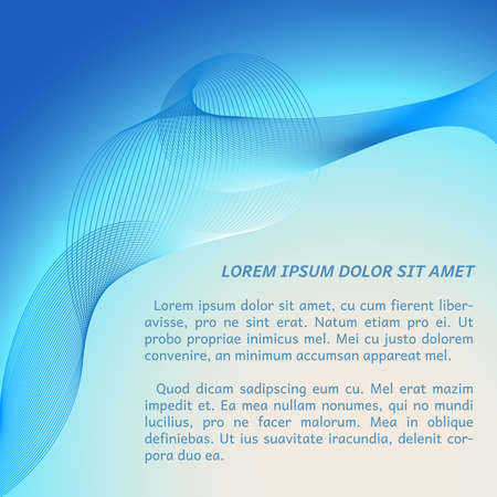 buisiness: Vector abstract template with wavy line art for your text. Buisiness card in light blue colors. Illustration