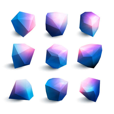 Vector illustration of a set of crystals with glowy edges in blue purple colors. Geometric shapes of crystals wth shadows.