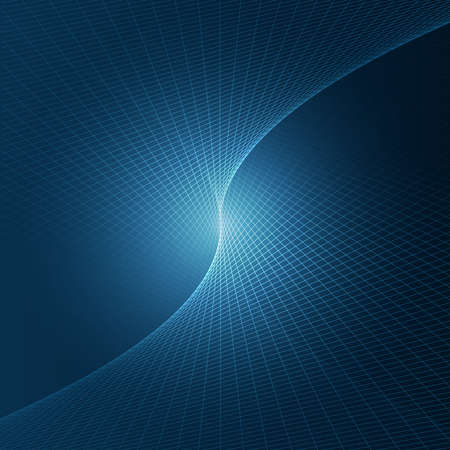 Vector illustration of abstract tree dimensional space. Line art pattern with glow in the center. Symmetrical geometrical background in deep blue colors. Concept of unity, convergence. Illustration