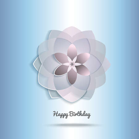 Vector illustration of greeting card with beautiful flower and greeting words - Happy Birthday. Siple, minimalistic abstract flower symbol on light blue background.