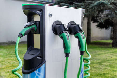 Electrical car charging station in the city.