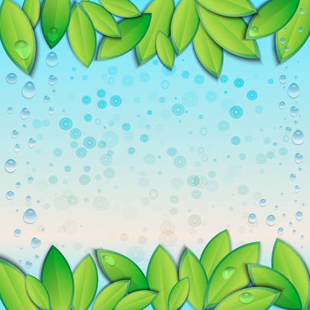 Vector illustration with fresh green leaves and water drops. Ecological template, banner, abstract background with blank space for text. Illustration