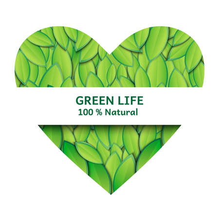 Vector illustration of heart filled with green leaves. Heart shaped frame with lush foliage for text with blank space.