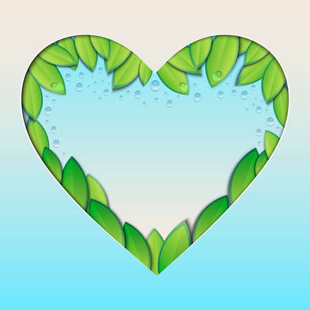 Vector illustration of heart filled with green leaves and water drops. Blue sky heart shaped frame with foliage for text with blank space.