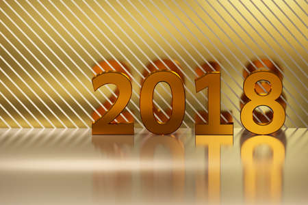 next year: Numbers of year 2018 made in shiny luxurious golden colors on the background of reflective surface with stripes. Image with blank space for extra text. 3D illustration.