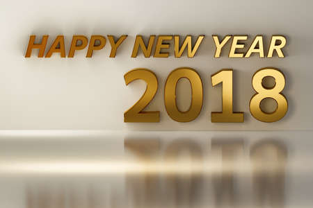 next year: Happy New Year 2018 made with shiny golden letters and numbers. Background with blank space in golden and white colors. 3D illustration.
