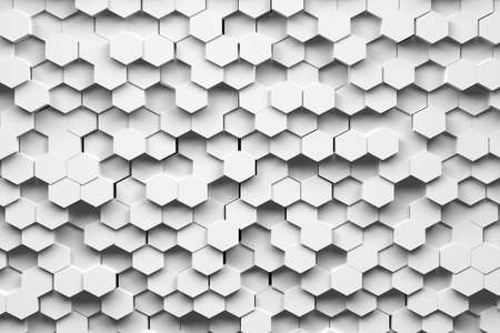 Abstract background with white hexagons. Many randomly arranged hexagonal shapes. 3d illustration. Stock Photo