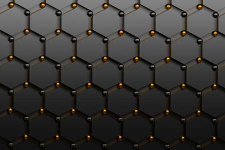 Abstract futuristic background with black hexagons and shiny golden and black spheres. Concept benzene molecules and carbon atoms. Geometric scientific backdrop. 3d illustration. Stock Photo