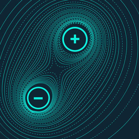 Vector abstract illustration with topographic lines of two charged particles interacting. Magnetic field between two atoms.