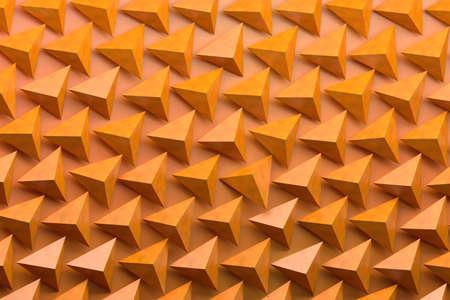 Pattern with many piramids on orange background. 3d illutration.