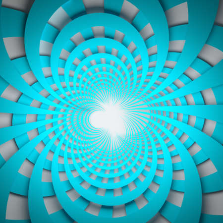 Abstract illustration of expanding from the center blue circular shapes on white background. 3d illustration.