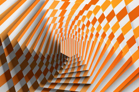 Rotation of textured hexagon with pattern of orange lines. 3d illustration.
