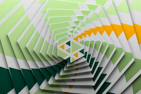 Textured rotated hexagons with green and yellow pattern. 3d illustration. 版權商用圖片