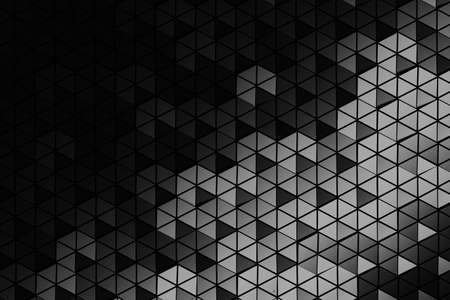 Pattern of many repeating hexagons made of triangles. Geometric three dimensional pattern in monochrome colors. 3d illustration.