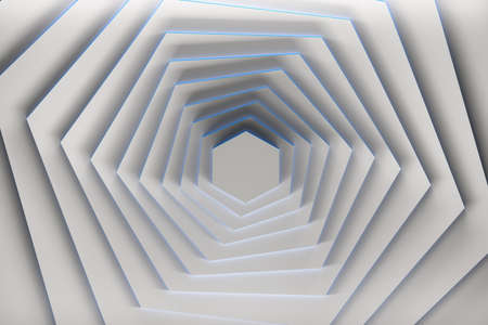 Rotation of pure white hexagons with blue edges. 3d illustration. 版權商用圖片