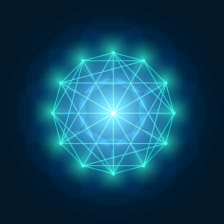 Vector illustration with line art. Abstract glowing geometric sacred geometry element on blue background.