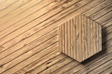 Single wooden large heaxagon on a wooden floor or wall. Image with blank copy space. 3d illustration. Stock Photo