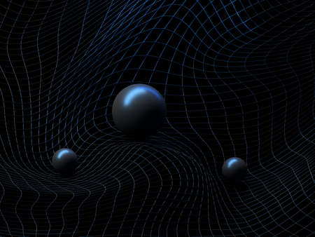 Abstract futuristic sci-fi background with warped wireframe, curved line surface and shiny balls. 3d illustration. Banque d'images - 104293035