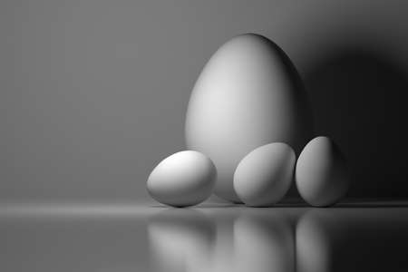 Four Easter eggs. One big and three small white eggs. Image tinted in blue color. Monochrome image. 3d illustration.
