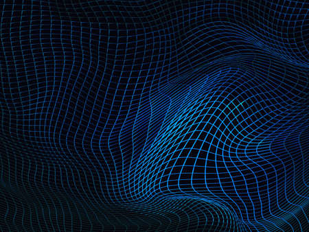 Abstract blue futuristic sci-fi background with warped wireframe, curved line surface. 3d illustration. Banque d'images - 104293047
