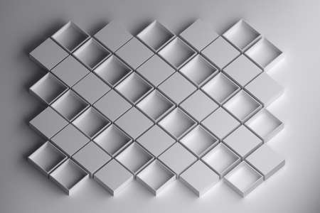 Pattern with white boxes. Opened and closed boxes arranged in rows. 3d illustration.