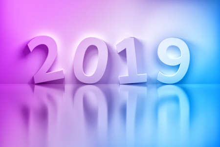 New Years greeting card - 2019 year white numbers randomly arranged on white reflective background. Tinted illustration in purple and blue colors. 3d illustration.