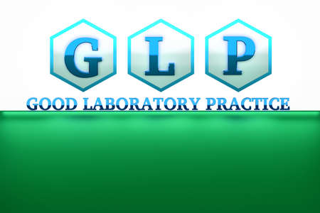 GLP, good laboratory practice, letters placed into hexagons. Quality management system for research laboratories. Image with copy blank space for text. 3D illustration.