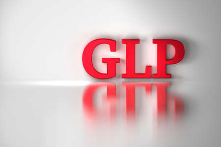 GLP, good laboratory practice, red shiny letters reflected on the white surface. Quality management system for research laboratories. 3D illustration.
