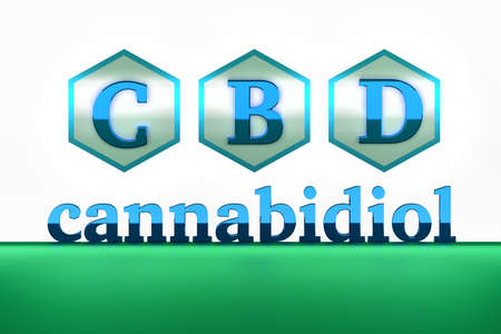CBD letters with hexagons and cannabidiol word. 3D illustration.