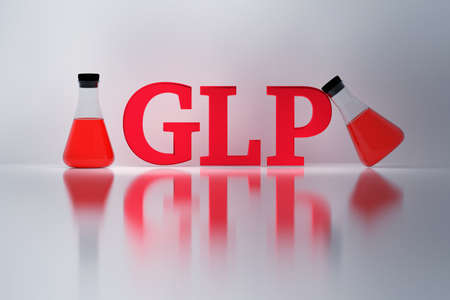 GLP, good laboratory practice, red shiny letters and laboratory Erlenmeyer flasks reflected on the white surface. Quality management system for research laboratories. 3D illustration.