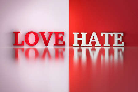 Love Hate words in white and red colors on the white and red reflective background. 3d illustration. Stock Photo