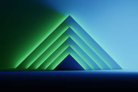 Abstract background with triangular shapes illuminated by blue and green glowing light over the dark surface. Room space with geometric primitive shapes pyramids. 3d illustration.