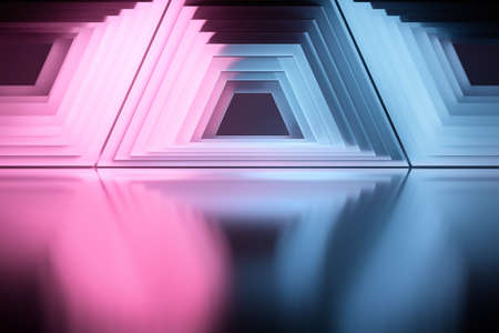 Abstract geometric shapes over shiny reflective surface. Pattern with symmetrical trapeziums colored in blue and pink colors. 3d illustration.