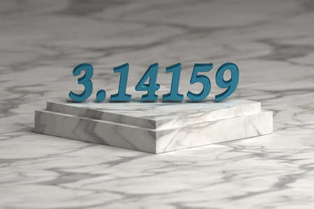 Blue shiny metallic Pi number digits over marble pedestal podium . Mathematics concept. 3d illustration.