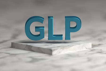 GLP letters in blue shiny metallic texture flying over marble pedestal podium . GLP - good laboratory practice standard concept for presentation. 3d illustration. Banque d'images - 117518057