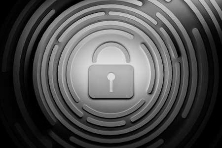 Schwarz-Weiß-Darstellung des Vorhängeschlosses mit Kreisen. Konzept für Sicherheitssysteme. 3D-Darstellung. Standard-Bild