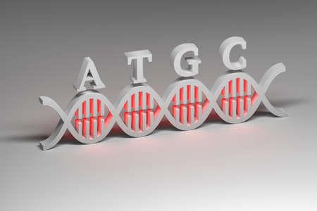 Abstract illustration of DNA molecule with letters A T G C standing for nucleotide bases. Genome gene editing concept. 3d illustration.