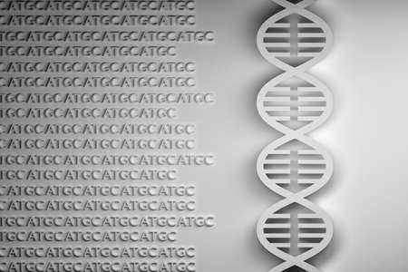 Concept of DNA sequencing - DNA helix with guanine adenine thymine cytosine A T G C letters. Black and white image. 3d illustration.