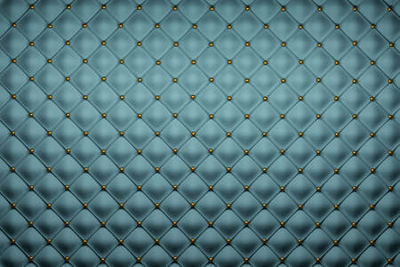 Pattern used in sofa texturing. Blue upholstery with golden sphere buttons. 3d illustration. Stock Photo
